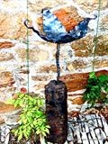 Leafy Birdbath by Spencer Field Larcombe, Metal, Hot Forged Mild Steel with wood